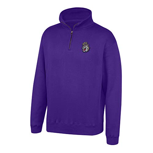 Top of the World NCAA Men's James Madison Dukes Team Color Classic Quarter Zip Pullover Purple Medium