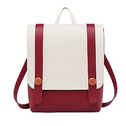 Rakkiss Women Backpack Cute Pure Color Stitching Messenger Bag Mini Portable Pocket Travel Bag Tie Rope Buckle Bag