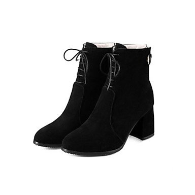 US10 UK8 Bootie Zipper Boots RTRY Fall Chunky Boots Novelty Comfort up 5 Pointed Women's Shoes Toe CN43 Booties Suede 5 EU42 Winter Heel Ankle Lace For Boots Fashion q4rqfBz