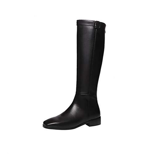 [해외][シュウカ] 롱 부츠 여성용 가죽 롱 부츠 엔지니어 부츠 부츠 기 검정 블랙 큰 안락한 덜 피로 太 힐 로우 힐 각 선미 백 지퍼 / Long boots boots Ladies genuine Leather long engineer boots jockey boots long boots black black large size eas...