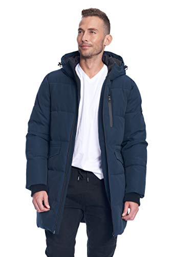 Alpine North Mens Vegan Down Winter Puffer Coat, Navy, 2XL ()
