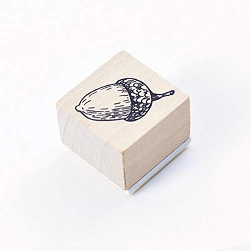 Animal Plants Wooden Stamps Rubber Standard for Spiral Paper Bullet Journals Pop Ups Memo Pad to Do Check List Memo Pad Notepad Remark Issue Planner Notebook (Acorn)