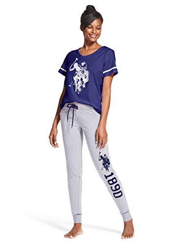 U.S. Polo Assn. Womens 2 Piece Short Sleeve V-Neck Shirt Pajama Sleep Sweatpants Navy Small ()