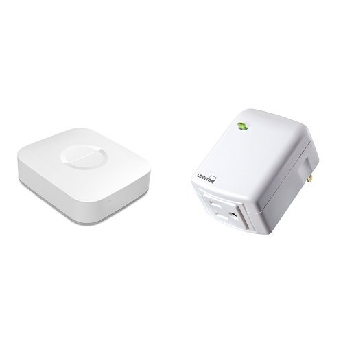 Samsung SmartThings Hub, 2nd Generation, and Leviton DZPA1-2BW Decora Smart Plug-in Outlet with Z-Wave Technology, White
