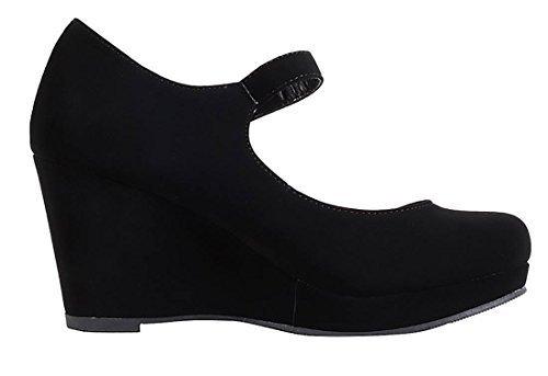 ns Mark Thomas Mary Jane Strap Comfortable Office Dress Platform Wedge Heel MVE Shoes, mve Shoes Mark Black Size 10 (Black Platform Wedge Heel)