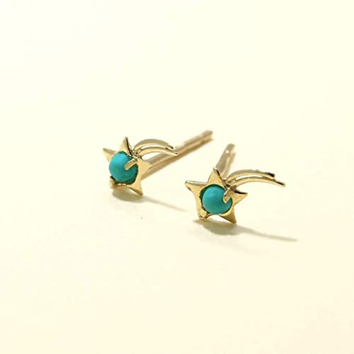 14K Gold Falling Star Stud Earrings - Tiny 2mm Turquoise Gemstone, 14K Solid Yellow Gold Dainty Studs, December Birthstone, Small Handmade Jewelry Gift for Girls and Petit Women
