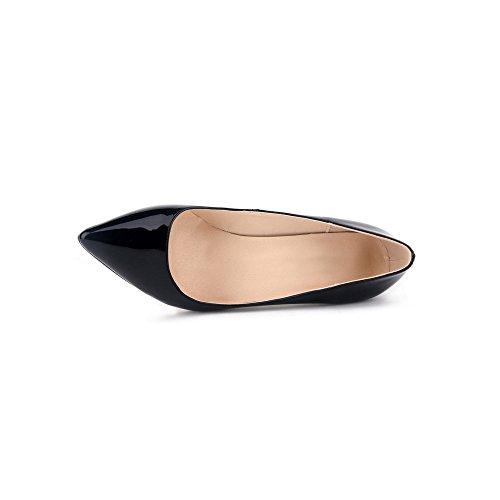 Ochenta mujer de la PU de cuero de patente los zapatos del partido de boda de la manera clasica Negro