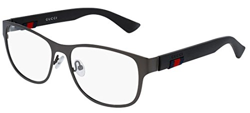 Metal Ruthenium Dark - Gucci GG 0013O 002 Ruthenium Metal Square Eyeglasses 55mm
