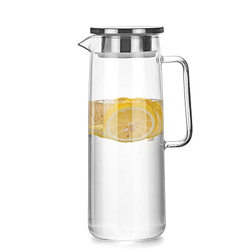 Cupwind Borosilicate Glass Hot/Cold Water Carafe Tea Pitcher with Stainless Steel Infuser Lid 50 oz