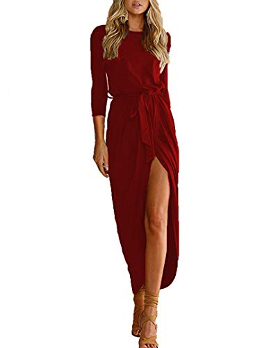Qearal Women's Elegant Crew Neck Dolman Sleeve Bodycon Sheath Party Dress Wine Red S