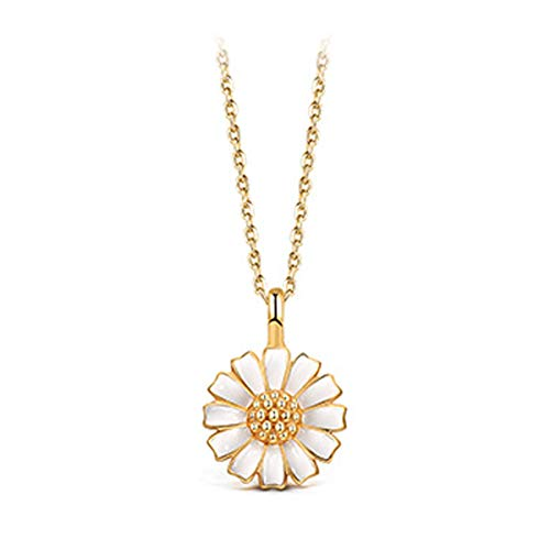 T400 925 Sterling Silver Gold Sunflower Pendant Necklace Daisy Chocker Enamel Women Gift