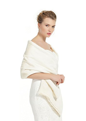Shawl Wrap Faux Fur Shrug Stole Scarf Winter Bridal Wedding Cover Up Ivory