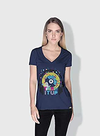 Creo Turn It Up Trendy T-Shirts For Women - L, Blue