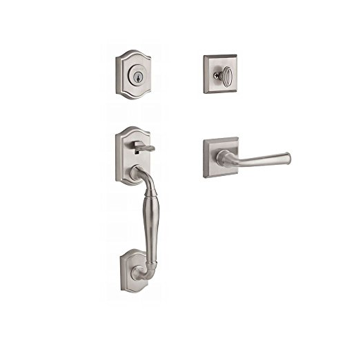 Baldwin SCWESXFEDRTSR150 Reserve Single Cylinder Handleset Westcliff x Federal with Traditional Square Rose in Satin Nickel Finish Right - Federal Knob Style