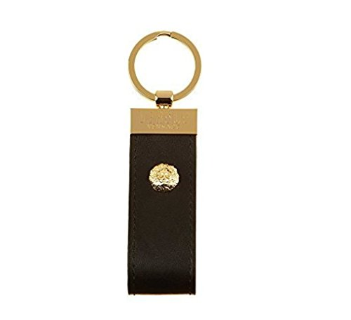 Versus Versace Black Gold Lion Head Leather Key Ring~RTL$150