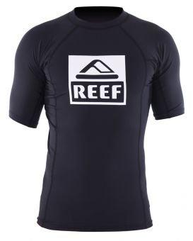 Reef Mens Logo 4 Short-Sleeve Rashguard, Black, X-Large