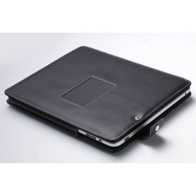 Leather Carrying Case Cover/Folio With Built-in Stand for Apple iPad 3G tablet / Wifi model 16GB, 32GB, 64GB (BLACK) (Built In 3g Tablet)