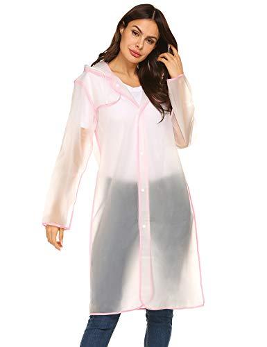 (Womens Rain Poncho Portable Drawstring Raincoat Camp Rainwear with Hoods Large L)