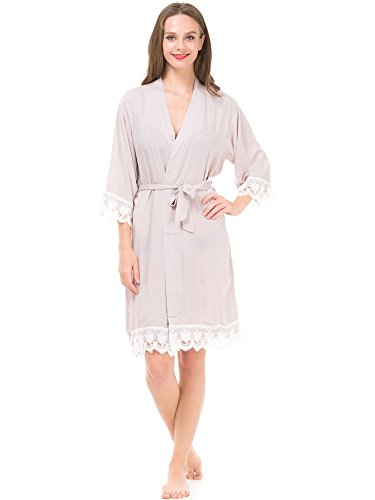Mr & Mrs Right Women's Cotton Robe for bride and Bridesmaid with Lace Trim