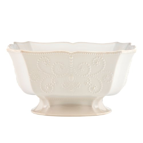 (Lenox French Perle Footed Centerpiece Bowl, White)