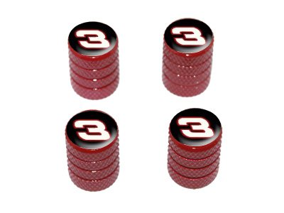 (Graphics and More Racing Race Car Number 3 - Tire Rim Valve Stem Caps - Red )