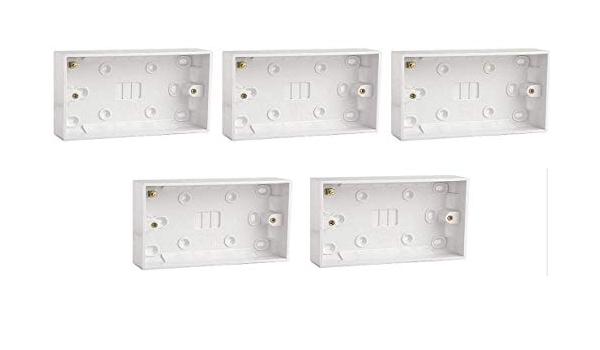 Moulé Pattress Surface mount back box Double 2 Gang 35 mm Pack de 5