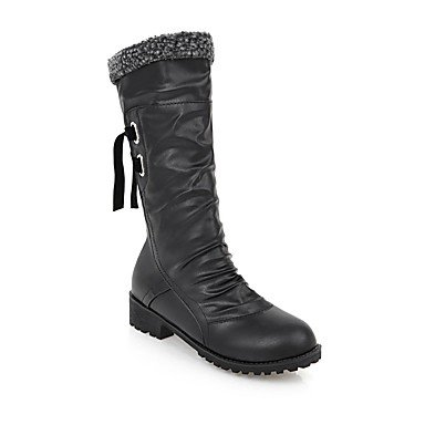 Boots Winter Boots For Lace Calf 5 Mid UK7 Women'S Boots CN42 Heel 10 Leatherette 5 Up Boots US9 8 Casual Riding Ruffles Toe RTRY Shoes Chunky EU41 Fashion Round Fall wAIqaqz