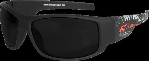 Edge Eyewear Legends Deathproof Glasses, Matte Black & Green Frame/Smoke Vapor Shield - Lens Smoke X-line