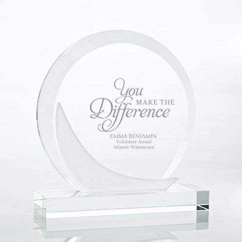 Engraved Trophy - Frosted Crystal - Award for Employees - Disc Shaped with Chiseled Accents and Rectangular Base - Personalized Engraving Up To Three Lines and Pre-Written Verse Selection - Comes In G