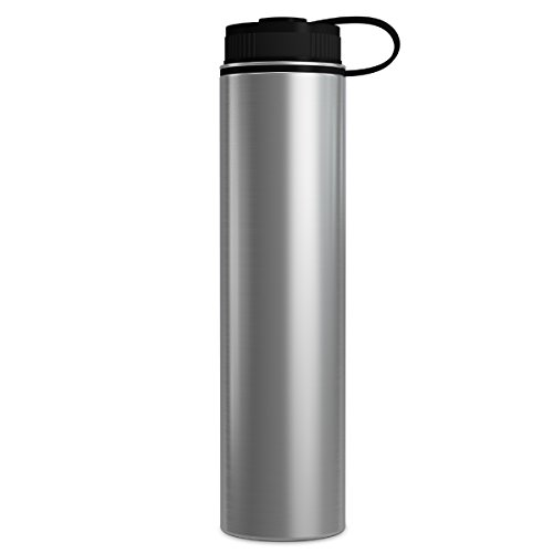 (GEO 25oz Double Wall Vacuum Insulated Stainless Steel Leak Proof Sports Water Bottle, Wide Mouth w/BPA Free Screw Cap (Stainless Steel))