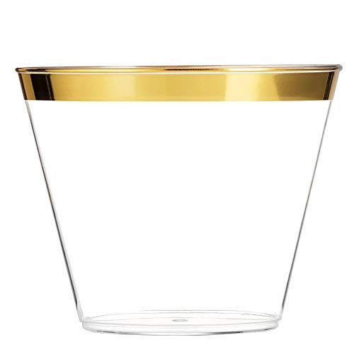 EcoEarth Gold Plastic Cups 9 oz (100 Pack) /Clear Plastic Party Cups/Wedding Cups/Gold Rimmed Plastic Cups/Gold Party Cups/Gold Rim Plastic Cups/Gold Disposable Cups/Disposable Party Cups