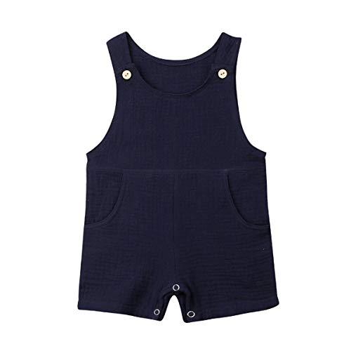 xueliangdedianpu Newborn Toddler Baby Pocket Cotton Seersucker Romper Overalls Jumpsuit Bodysuit Sunsuit Summer Outfits 0-24M (Navy Blue, 6-12 - Overall Baby Blue