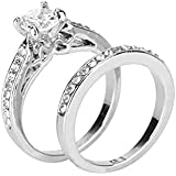 Aunimeifly Men and Women Couples Two-Piece Diamond Inlaid Ring Engagement Ring Jewelry Gift Silver