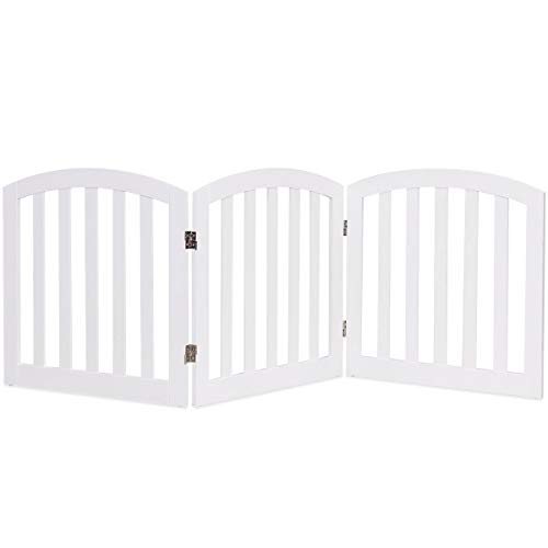 (Giantex 24'' Dog Gate with Arched Top for Doorway and Stairs, Configurable Free Standing Wooden Gate with Foldable Panels and Sturdy Metal Hinges, Pet Dog Safety Fence (72'' W, White))