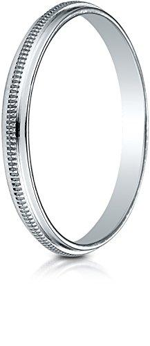 Benchmark 14K White Gold 2mm High Polished Milgrain Center Design Wedding Band Ring, Size 9.5