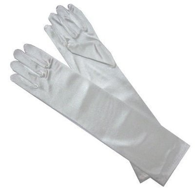 Long White Dress Costume (Satin Long Child Size Girls Formal Gloves (4 - 7, White))