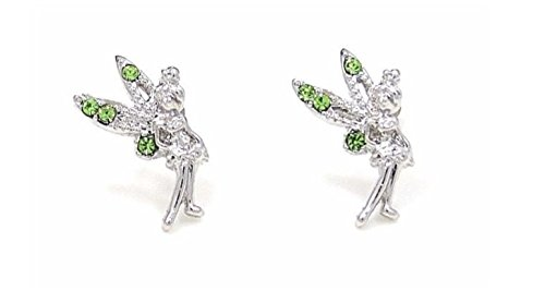 New Tinkerbell Fairy Crystal Silver Tone Stud Earrings (Tone Wedding Bell)