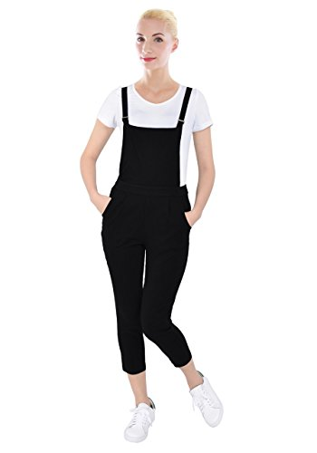 PattyCandy Womens Black Jumpsuit Overalls With Fitted Capri Pants, Black - XL