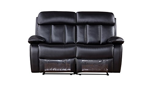 American Eagle Furniture Dunbar Collection Faux Leather Reclining Loveseat with Pillow Top Armrests, Black