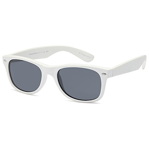GAMMA RAY CHEATERS Best Value Polarized UV400 Wayfarer Style Sunglasses with Mirror Lens and Multi Pack Options Adult - Gray Lens on Matte White Frame