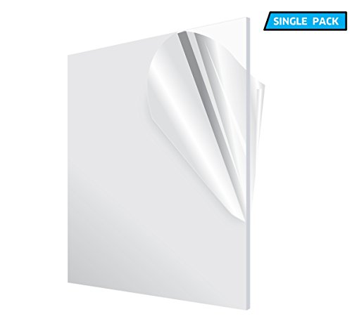 AdirOffice Acrylic Plexiglass Sheet - Transparent, Plastic Sheeting - Durable, Water Resistant & Weatherproof - Multipurpose & Ideal For Countless Uses 12''x12'' 1/8'' thick, Clear ()