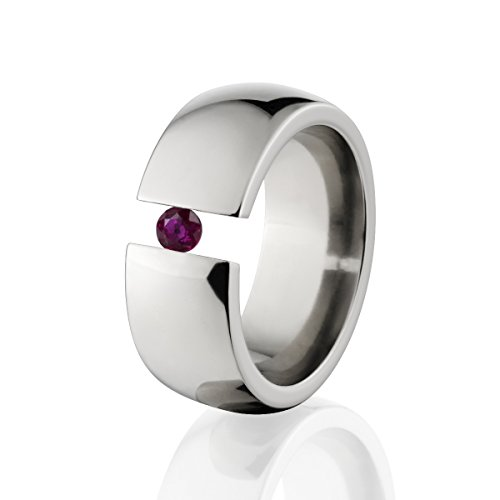(Ruby Ring Titanium Tension Set Jewelry Stunning Ruby Band)