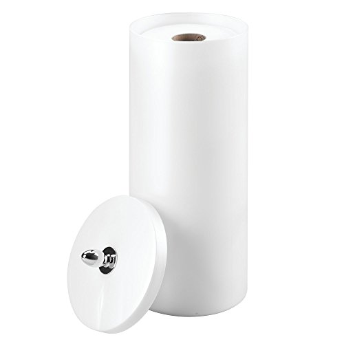(InterDesign Orb Free Standing Toilet Paper Holder – Spare Roll Storage for Bathroom, Pearl White/Chrome (87040))