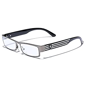 Rectangular Frame Women's Men's Designer Sunglasses Clear Lens RX Optical Eyeglasses (with Hard Case & Drawstring Pouch)