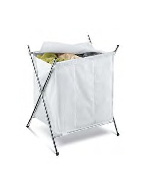Three Compartment Folding Hamper with Cover in Chrome