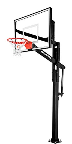 - Goalrilla FT54 Basketball Hoop with Tempered Glass Backboard, Black Anodized Frame, and In-ground Anchor System