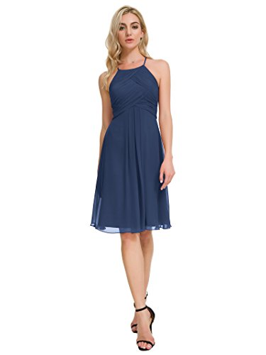 Alicepub Chiffon Bridesmaid Dresses Halter Cocktail Dress Short Homecoming Party Dresses, Navy, ()