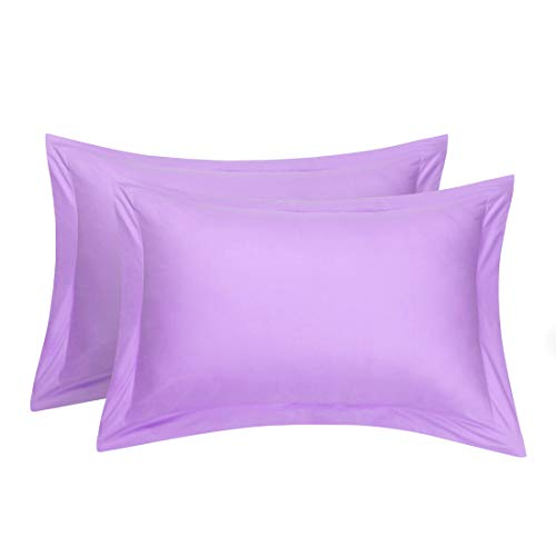 uxcell Pillow Shams Oxford Pillow Cases Egyptian Cotton 300 Thread Count Solid/Plain Pattern Lilac 20 x 26 Inch Set of 2 (Standard Lilac)