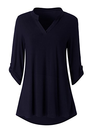 3/4 Sleeve Tunic Top - Zattcas Womens Floral Printed Tunic Shirts 3/4 Roll Sleeve Notch Neck Tunic Top (XX-Large, Solid Navy)