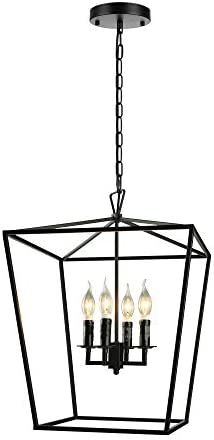 KWOKING 4 Lights Lantern Chandelier Rustic Industrial Pendant Light Fixture Candle Island Hanging Lamp